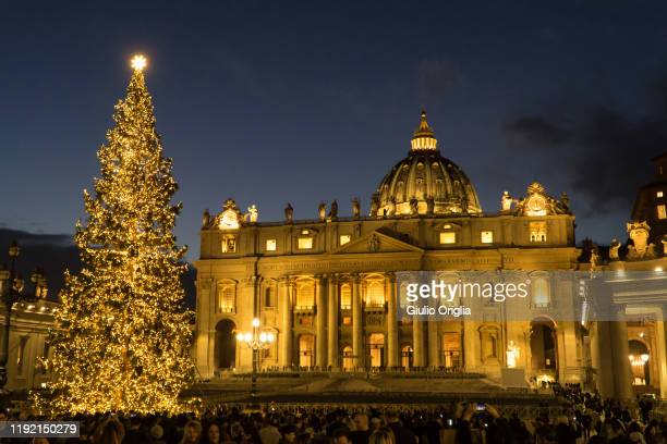 View of Saint Peter's Square during the Christmas tree switch on ceremony on December 05, 2019 in Vatican City, Vatican.