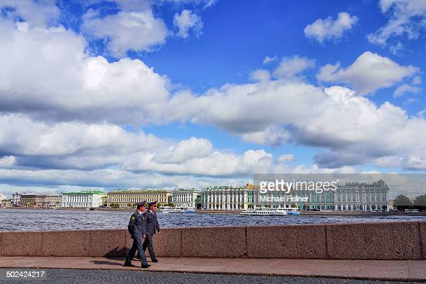 CONTENT] View of Saint Petersburg with big fluffy clouds hanging over it Russia