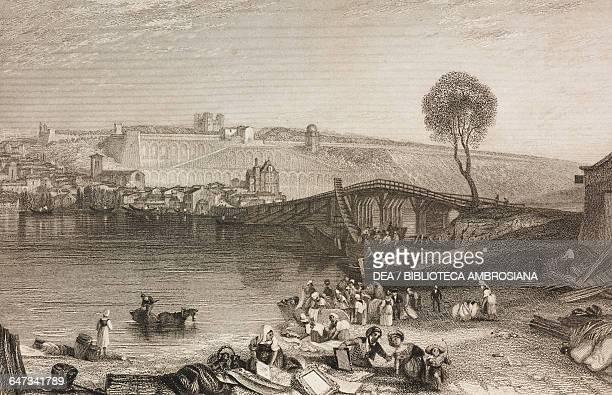 View of SaintGermainenLaye and a bridge over the Seine France illustration from Gallery of Graces with illustrations from Heath's Book of Beauty ca...