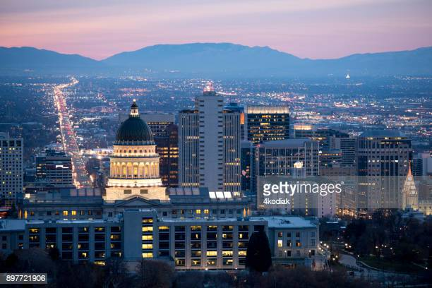view of salt lake city at dawn - salt lake city utah stock photos and pictures