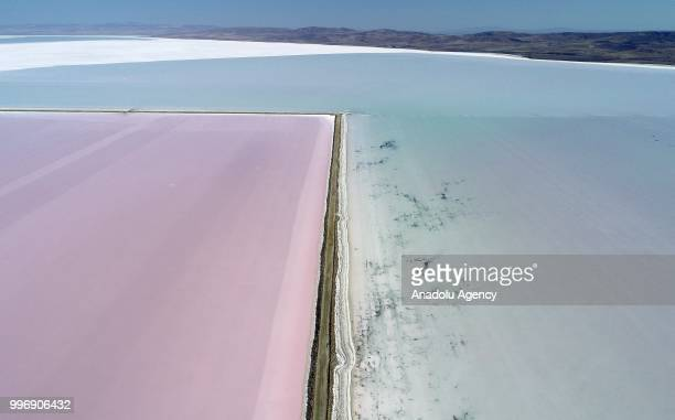 A view of 'Salt Lake' is seen after its color turned to red due to Dunaliella salina in Aksaray Turkey on July 12 2018 Dunaliella salina is a kind of...