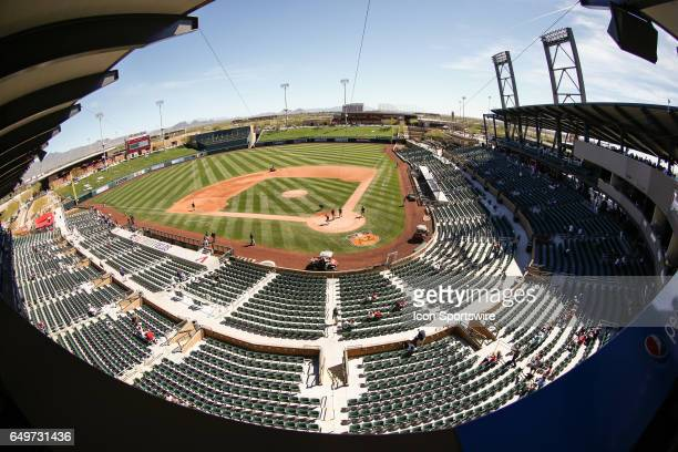 View of Salt River Fields at Talking Stick Stadium before the spring training baseball game between the Oakland Athletics and the Arizona...