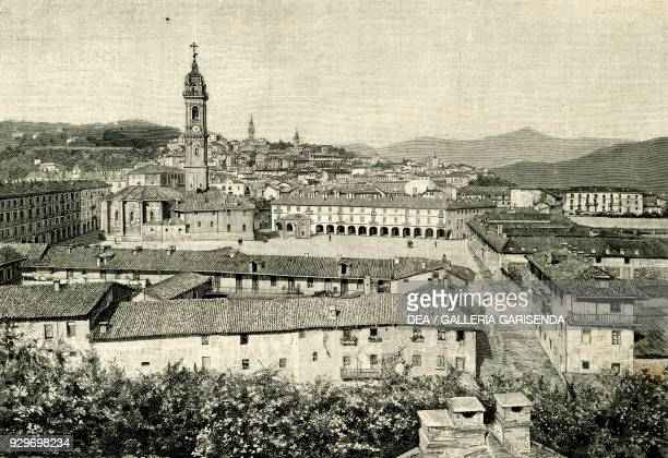 View of Saluzzo Piedmont Italy woodcut from Le cento citta d'Italia illustrated monthly supplement of Il Secolo Milan 1894