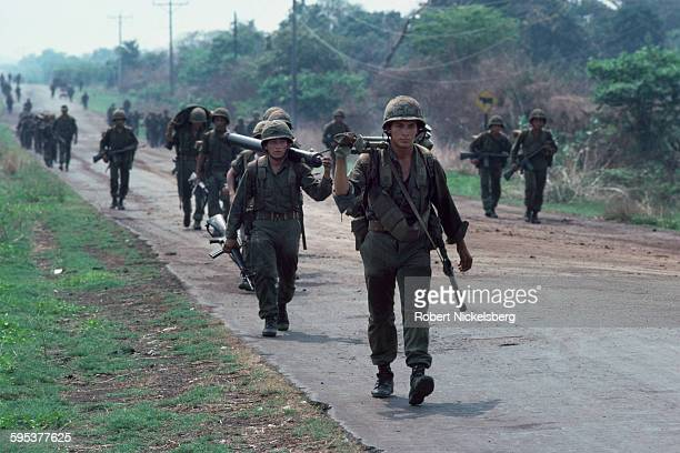 View of Salvadoran soldiers on patrol central El Salvador May 1 1983 At the time the country was engaged in what became a 13year Civil War between...