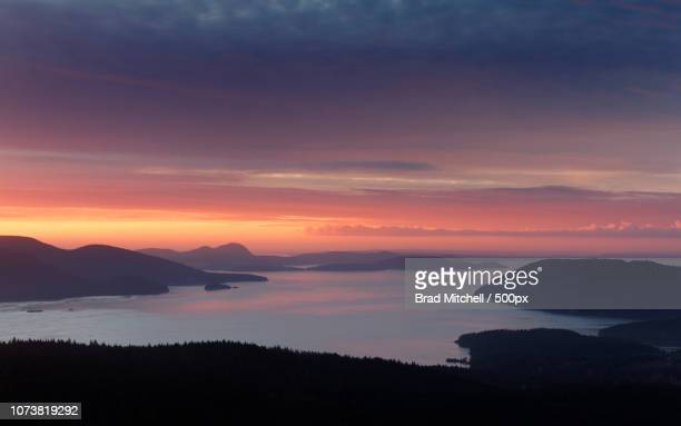 View of Samish Bay and Rosario Strait at sunrise from Mount Constitution in Moran State Park on Orca