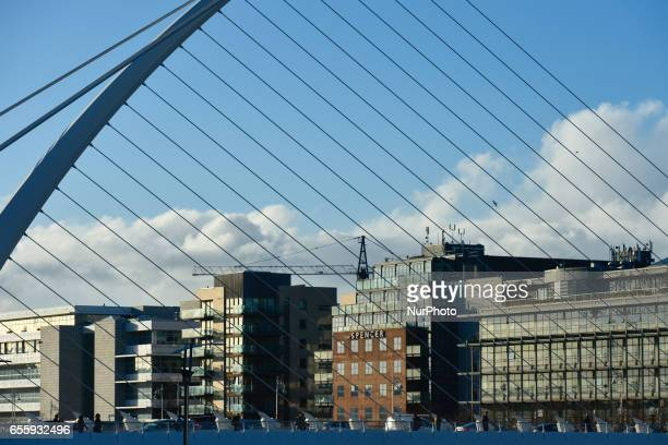 A view of Samuel Beckett's bridge with in Dublin with the International Financial Services Center area in the background On Monday March 20 in Dublin...