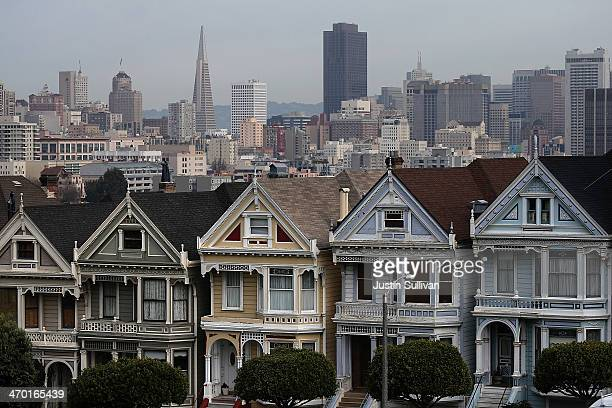 A view of San Francisco's famed Painted Ladies victorian houses on February 18 2014 in San Francisco California According to a report by mortgage...