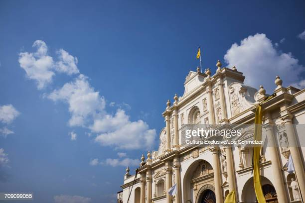 View of San Jose Cathedral against blue sky, Antigua, Guatemala