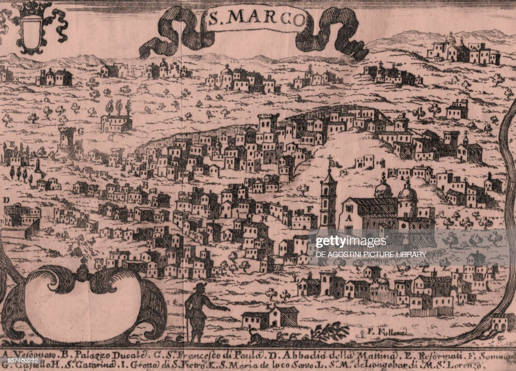 View of San Marco (San Marco Argentano), Calabria, Italy, etching ...