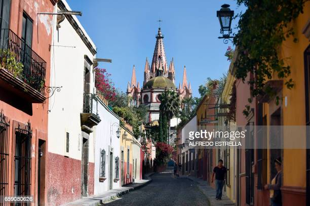 View of San Miguel de Allende Guanajuato state Mexico on March 22 2017 San Miguel de Allende is a community with a large population of retired US...
