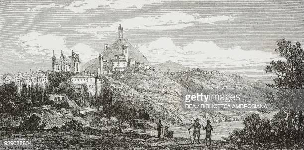 View of San Miniato, Tuscany, Italy, drawing by Francois Louis Niederhausern-Koechlin , from Tuscany and Umbria by Francis Wey , from Il Giro del...