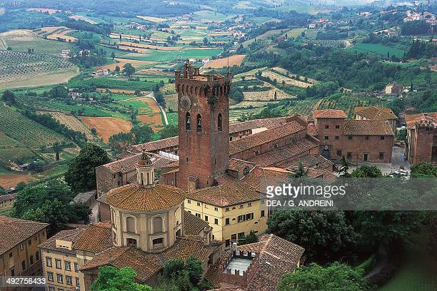 View of San Miniato with the Cathedral and the Tower of Matilde, Tuscany, Italy.