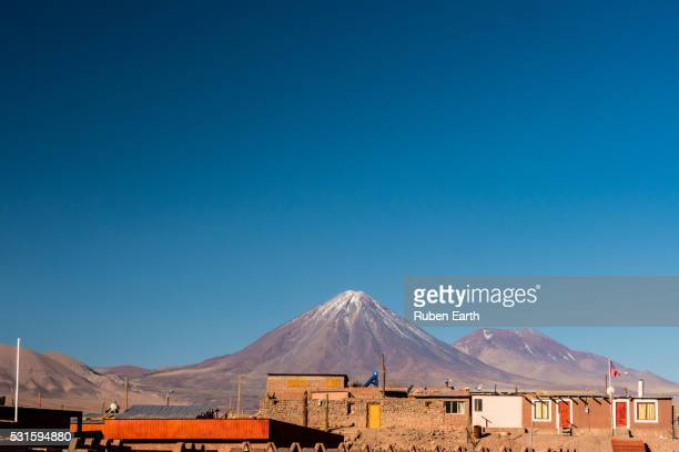 View of San Pedro de Atacama and the Licancabur volcano