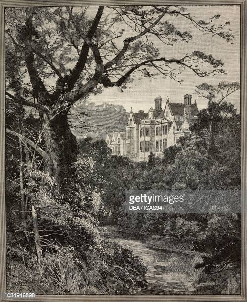 View of Sandringham House United Kingdom engraving by G Montrard from The Illustrated London News No 2551 March 10 1888