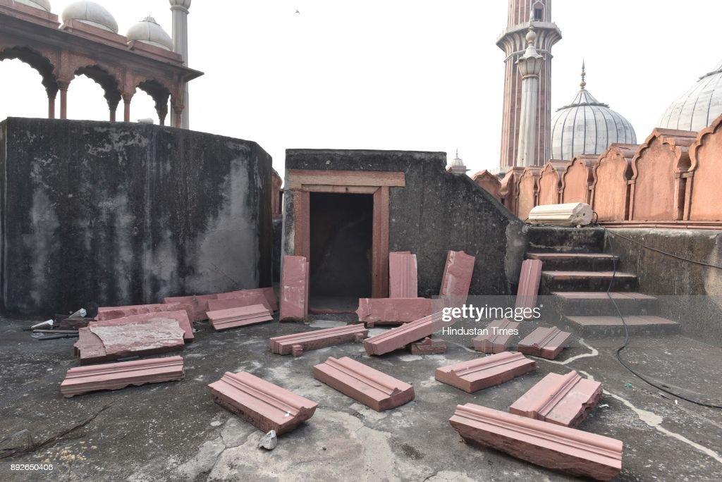 Special Shoot On Degeneration Of 17th Century Jama Masjid : News Photo