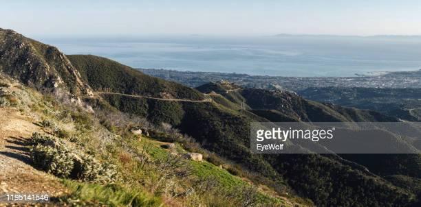 view of santa barbara from the top of gibraltar road - fugir da realidade imagens e fotografias de stock
