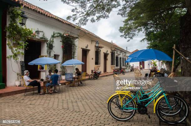 View of Santa Cruz de Mompox a town on the banks of the Magdalena River in the northern Colombian department of Bolivar on September 23 2017 This...