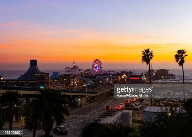 View of Santa Monica Pier which has reopened for pedestrian sightseers and outdoor dining after being closed due to COVID-19 restrictions on February...