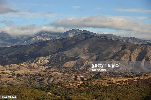 View of Santa Ynez Valley and San Rafael Mountain range in Santa Barbara County, Southern California, USA