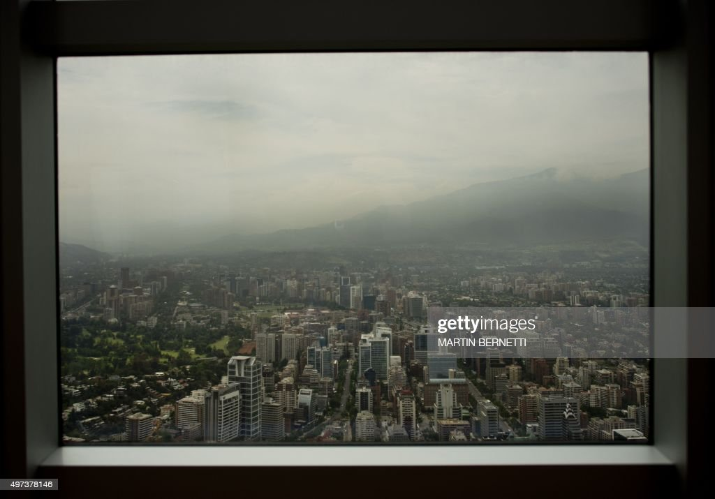 View of Santiago from the Costanera Center tower in Santiago on November 16, 2015. The Costanera Cernter has the highest lookout in South America, with a height of 300 meters and a 360 degrees panoramic view.