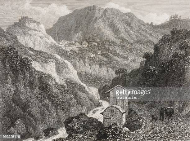 View of Saorge from the Roya Valley France engraving by James Tibbits Willmore after a drawing by William Brockedon from Illustrations of the passes...