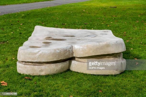 View of Sarah Lucuss sculpture Sandwich during the Frieze Sculpture 2020 exhibition at Regent's Park.
