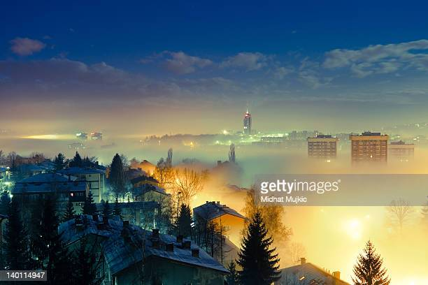 View of Sarajevo in foggy morning