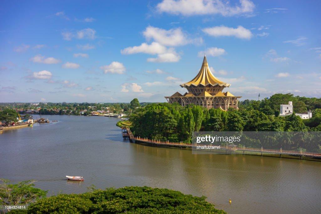 View of Sarawak River in Kuching, Sarawak : Stock Photo