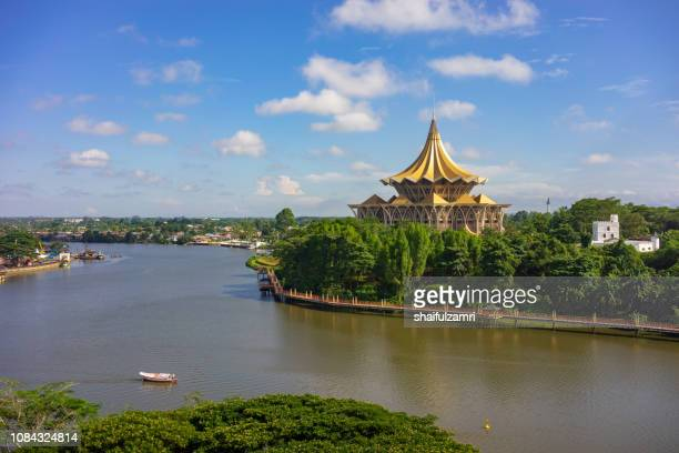 view of sarawak river in kuching, sarawak - sarawak state stock pictures, royalty-free photos & images