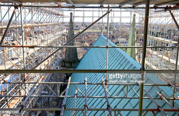 A view of scaffolding above the roof of Chichester Cathedral in West Sussex as the Cathedral launches its High Roof Restoration Appeal in a bid to...