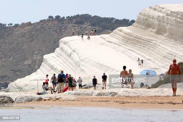 View of Scala Dei Turchi on June 06, 2018 in Scala Dei Turchi near Porto Empedocle, Italy. The Scala Dei Turchi is a rocky cliff on the coast of...
