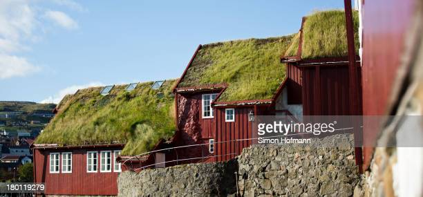 A view of scandinavian houses nearby the harbour on September 7 2013 in Torshavn Faroe Islands