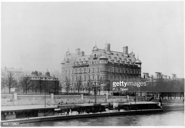 View of Scotland Yard from across the Thames River in London, England. Circa 1900.
