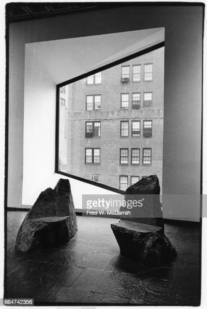 View of Scott Burton's sculpture 'Two Chairs' on display during the Whitney Biennial New York New York February 20 1981