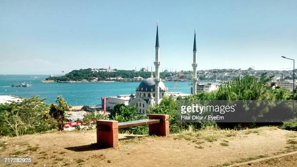 view of sea against blue sky - hilal stock photos and pictures