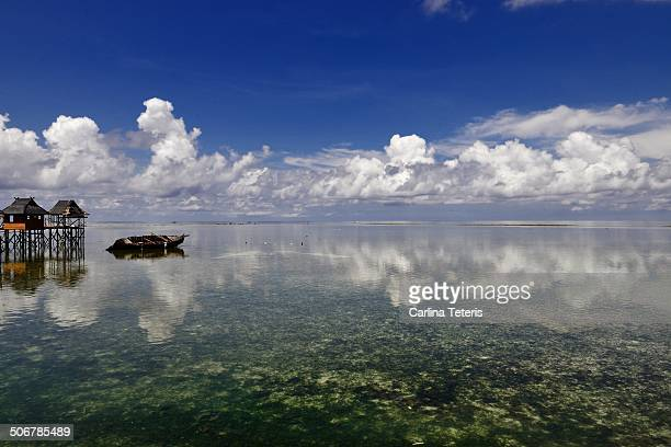 view of sea around mabul island - mabul island stock photos and pictures