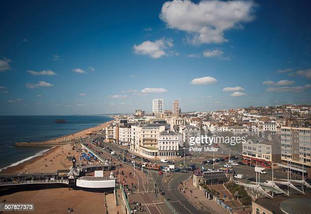 view of sea, beach and coastline, brighton, east sussex, uk - brighton stock photos and pictures