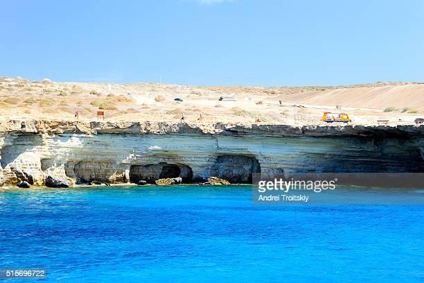 View of sea caves near Cape Greko on the Mediterranean Sea, Ayia Napa, Cyprus