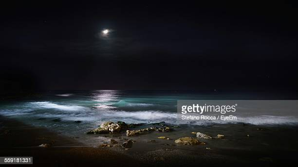 View Of Sea During Night