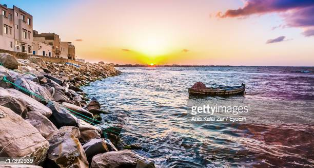 view of sea during sunset - tunisia stock pictures, royalty-free photos & images