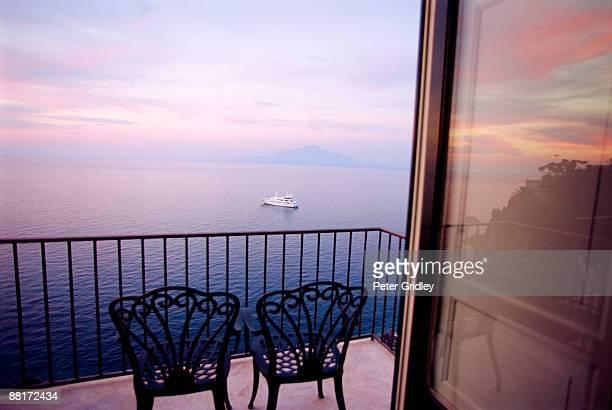 View of sea from balcony in Sorrento, Italy