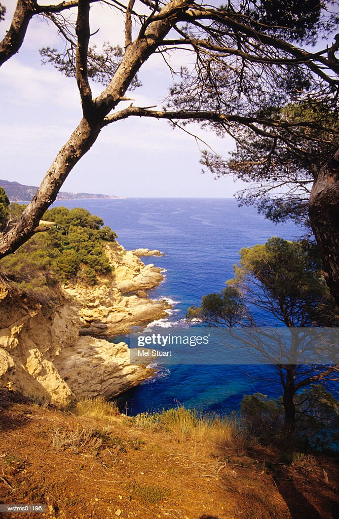 View of sea from mountain top, near Tossa de Mar, Costa Brava, Catalonia, Spain : Stock Photo