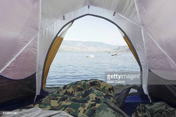 View of sea from tent arch