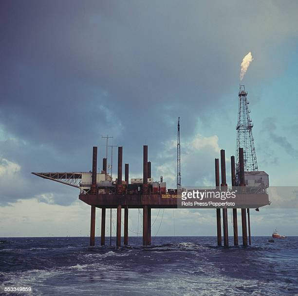 View of Sea Gem Britain's first offshore oil rig owned by British Petroleum and located in the North Sea off the Lincolnshire coast in 1965 On 27th...