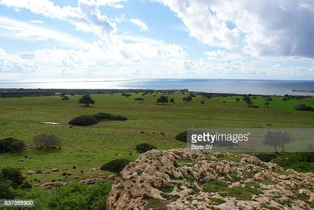 view of seaside from the rock formation in akamas area of cyprus - アカマス半島 ストックフォトと画像