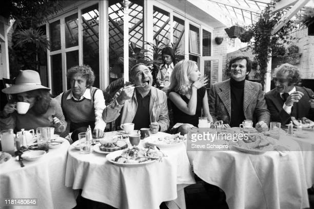 View of seated from left American actress Madeline Kahn actor Gene Wilder director Mel Brooks actress Teri Garr actor Kenneth Mars and actor Marty...