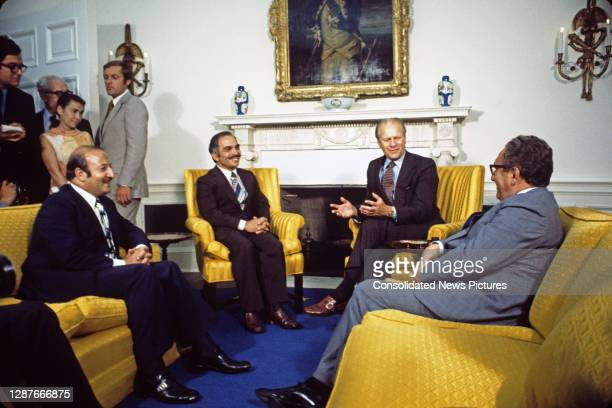 View of, seated from left, Prime Minister of Jordan Zaid al-Rifai, King Hussein of Jordan , US President Gerald Ford , and Secretary of State Henry...