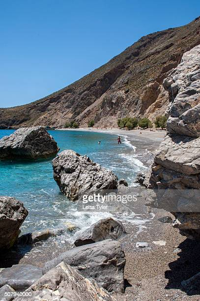 View of secluded Sweetwater Beach between the villages of Hora Sfakion and Loutro on the southern coast of the Greek island of Crete