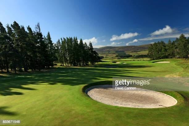 View of second shot on the 491 yards par 5, seventh hole on the Queen's Course at The Gleneagles Hotel on August 8, 2017 in Auchterarder, Scotland.