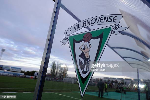 View of Secundo B team CF Villanovense's emblem on the dugout ahead of the Copa del Rey Last of 16 First Leg match between CF Villanovense and FC...